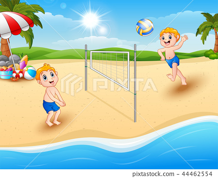 Children playing volleyball at the beach 44462554