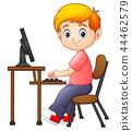 boy, cartoon, computer 44462579
