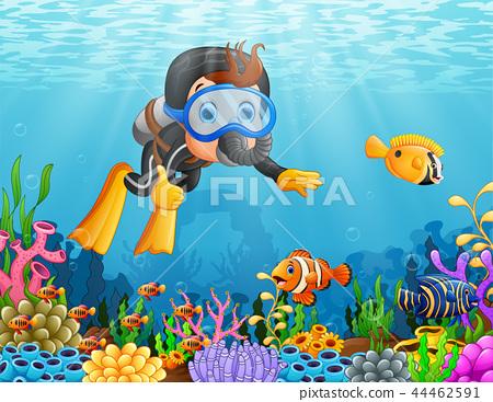 Cartoon boy diving in the sea 44462591