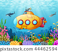 Cartoon submarine underwater 44462594