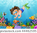 Little boy diving in the sea 44462595