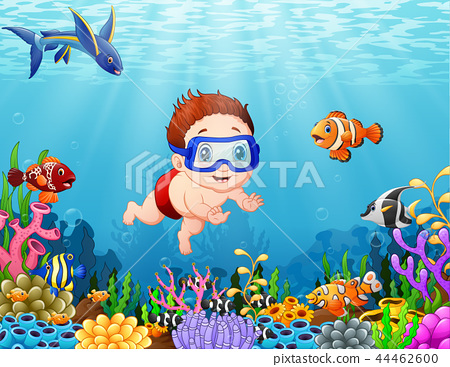 Little boy diving in the sea 44462600