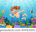 Little boy diving in the sea 44462601