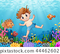 Little boy diving in the sea 44462602