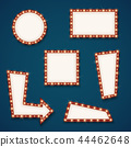 Retro road light empty signs banners with bulbs vector set 44462648
