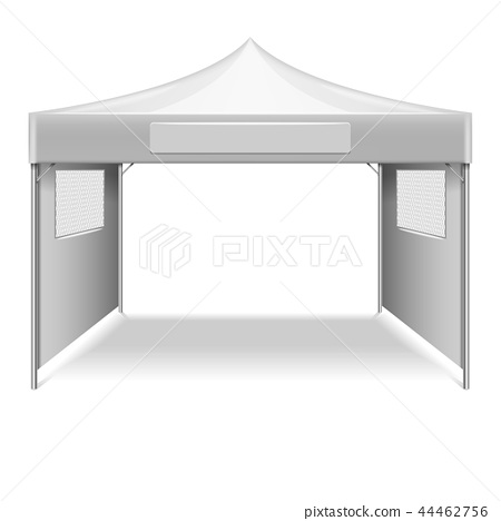 White empty folding tent, marquee vector template 44462756