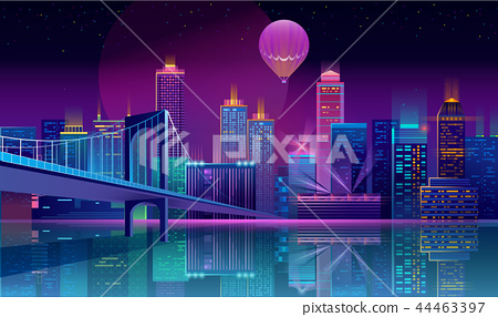 Vector background with night city in neon lights 44463397