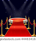 podium with red carpet, ropes, stanchions 44463416