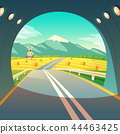 illustration of village landscape, view from exit of road tunnel. Farm with mill, wheat field with 44463425