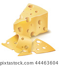 realistic emmental cheese wedge with slices 44463604