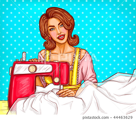 Pop art woman dressmaker seamstress or sewer sketch illustration at sewing machine 44463629