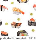 Seamless pattern of Sushi and Wasabi. 44463810