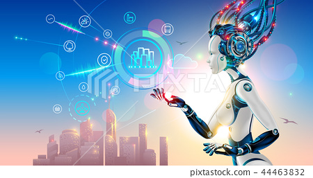 Artificial intelligence controls smart city via internet and hud interface with icons urban 44463832