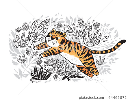 Contour print of jungle with orange tiger in cartoon style. Tiger is jumping in tropical garden. 44463872