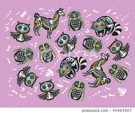 Owl, penguin, llama and raccoon sugar skull. Vector tattoo, stickers, patches set 44463907