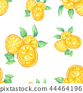 Orange Slices With Leaves, Seamless Wallpaper 44464196