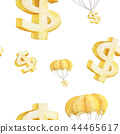 Seamless watercolor illustration of Golden Dollar 44465617