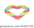 Heart made from Rainbow Candy. Watercolor 44465705