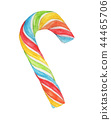 Rainbow Candy Cane. Watercolor 44465706