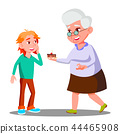 Old Woman Treating Little Child With Cookies Vector. Isolated Illustration 44465908