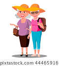 Two Old Women Friends In Hats Enjoing Vacation Vector. Isolated Illustration 44465916