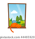 Cat Sleepping On The Window Vector. Isolated Illustration 44465920