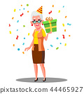 Funny Old Woman Celebrate Birthday In Party Caps And Confetti Vector. Isolated Illustration 44465927