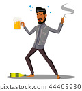 Adult Drunk Man With Glass Of Beer And Cigar Vector. Isolated Illustration 44465930