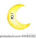 Crescent moon face isolation on white background 44466283
