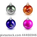 Set of Realistic Metallic Balls of different colors with decor. Isolated. Vector 44466946