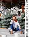 Romantic Autumn Woman Model with Red Hair, with Fall Fashion Gir 44467940