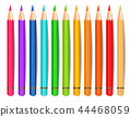 Colorful pencils isolated Vector realistic 44468059