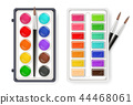 Watercolor palette drawing set with brushes colors 44468061