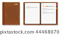 Leather note book Vector realistic. 3d detailed 44468070