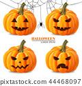 Halloween pumpkin faces set Vector realistic 44468097