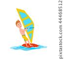 Windsurfing Summer Sport, Vector Illustration 44468512