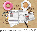Office desk coffee, donut, newspaper and glasses 44468534