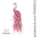 Pink peacock watercolor Vector. Colorful 44468552