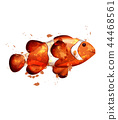 Golden fish watercolor Vector isolated. Small 44468561