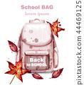 School bag watercolor Vector. Pink satchel 44469125