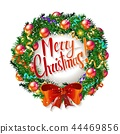 Christmas wreath and Happy New Year 2019 44469856