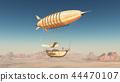 Fantasy airship over a desert 44470107