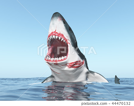 Great white shark leaping out of the water - Stock