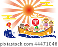 Year of the Rising Sun, Treasure Ship of Seven Lucky Gods template 44471046
