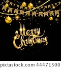 Merry Christmas card with lettering 44471500