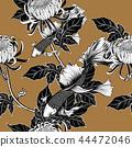 Koi fish with chrysanthemum seamless pattern  44472046