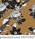 Koi fish with chrysanthemum seamless pattern  44472047