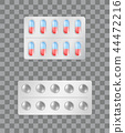 Pills Strips Transparent, Vector Illustration 44472216