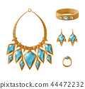 Luxury Gold Set Necklace, Earrings Ring Bracelet 44472232