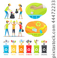 Rubbish Collecting and Sorting Vector Illustration 44472233